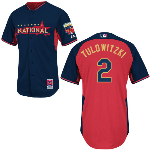 National League Rockies 2 Tulowitzki Blue 2014 All Star Jerseys