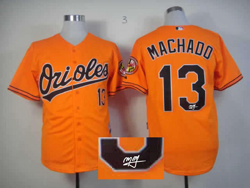 Orioles 13 Machado Orange Signature Edition Jerseys