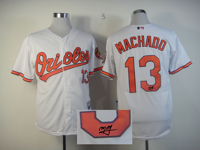 Orioles 13 Machado White Signature Edition Jerseys