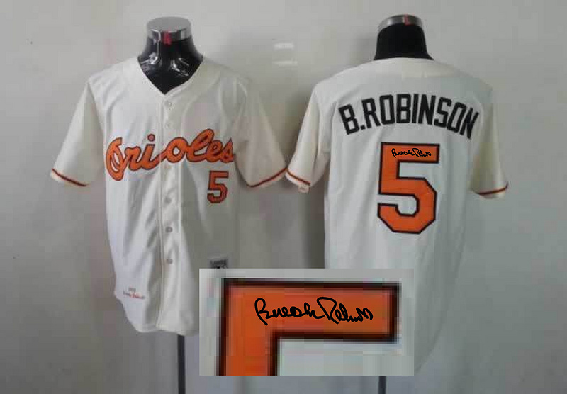 Orioles 5 B.Robinson Cream Signature Edition Jerseys