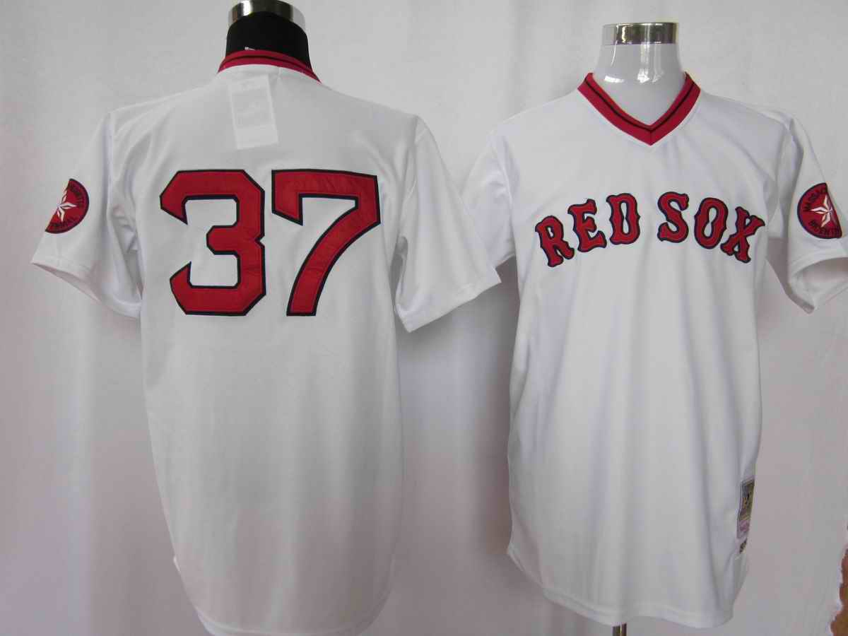 Red Sox 37 White M&N Jerseys