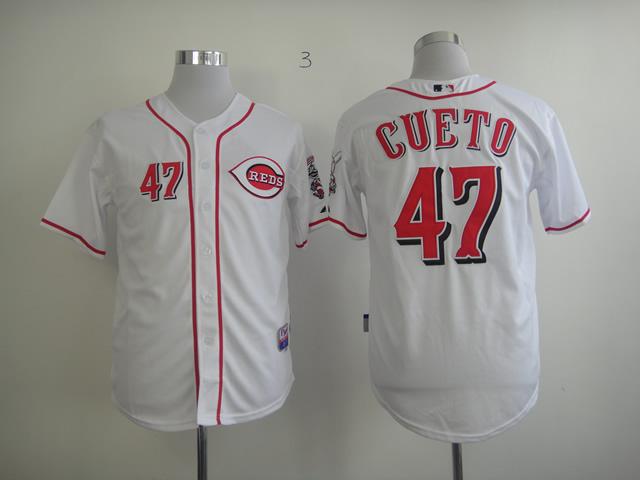 Reds 47 Cueto White Jerseys