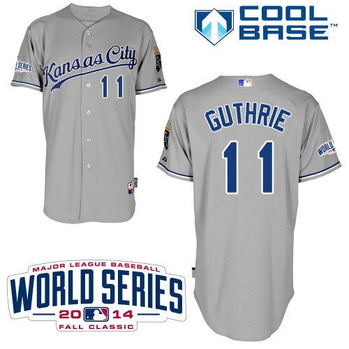 Royals 11 Guthrie Grey 2014 World Series Cool Base Jerseys