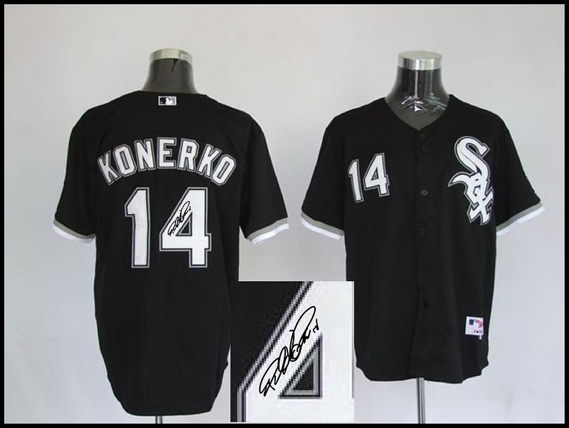 White Sox 14 Konerko Black Signature Edition Jerseys