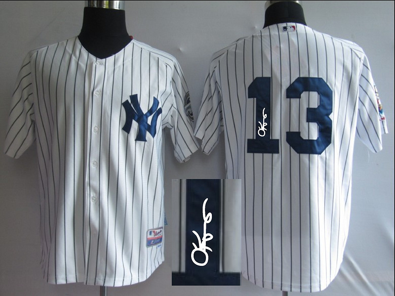Yankees 13 Rodriguez White Signature Edition Jerseys