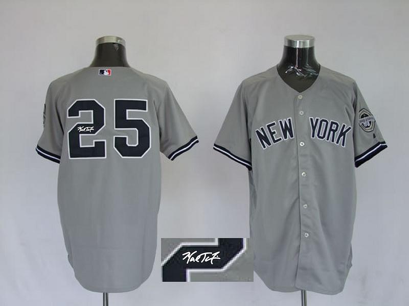 Yankees 25 Teixeira Grey Signature Edition Jerseys