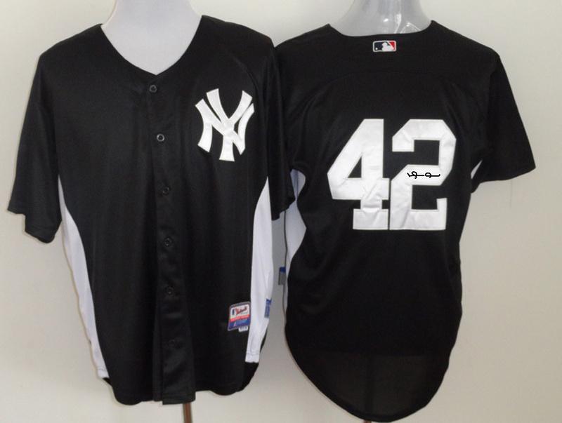 Yankees 42 Rivera Black Signature Edition Jerseys