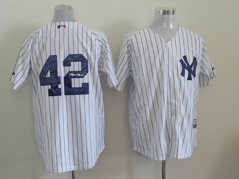 Yankees 42 Rivera White Signature Edition Jerseys
