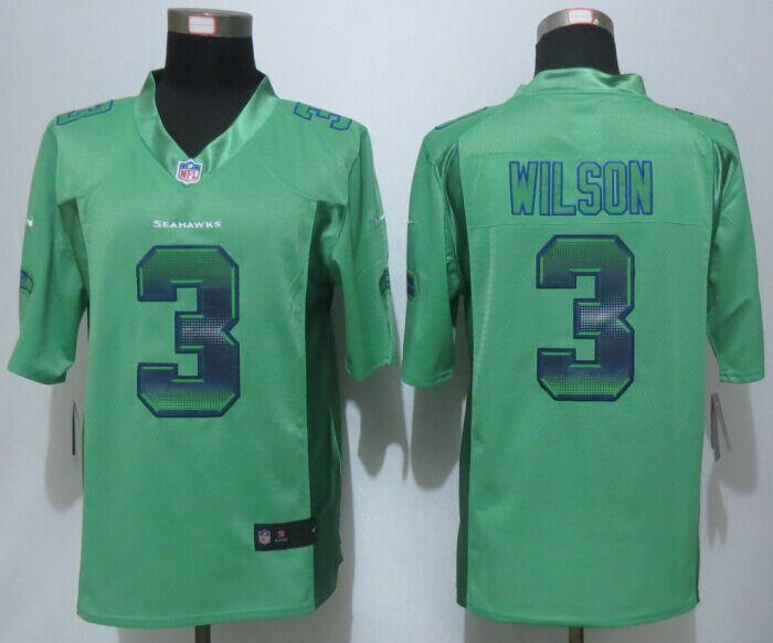 Nike Seahawks 3 Russell Wilson Green Pro Line Fashion Strobe Jersey