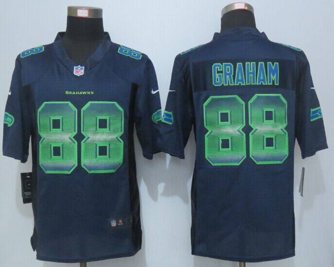 Nike Seahawks 88 Jimmy Graham Blue Pro Line Fashion Strobe Jersey