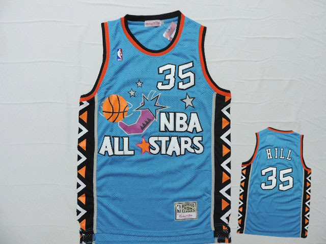 1996 All Star 35 Grant Hill Teal Hardwood Classics Jersey