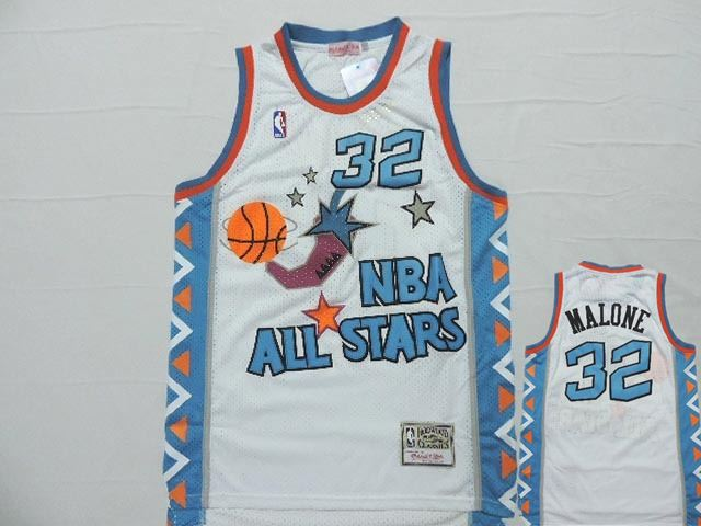 1996 All Star 32 Karl Malone White Hardwood Classics Jersey