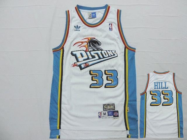Pistons 33 Grant Hill White Hardwood Classics Jersey