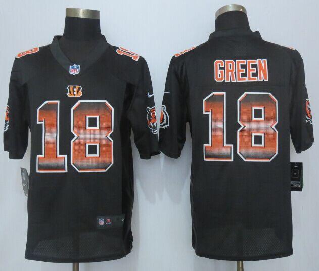 Nike Bengals 18 A.J. Green Black Pro Line Fashion Strobe Jersey