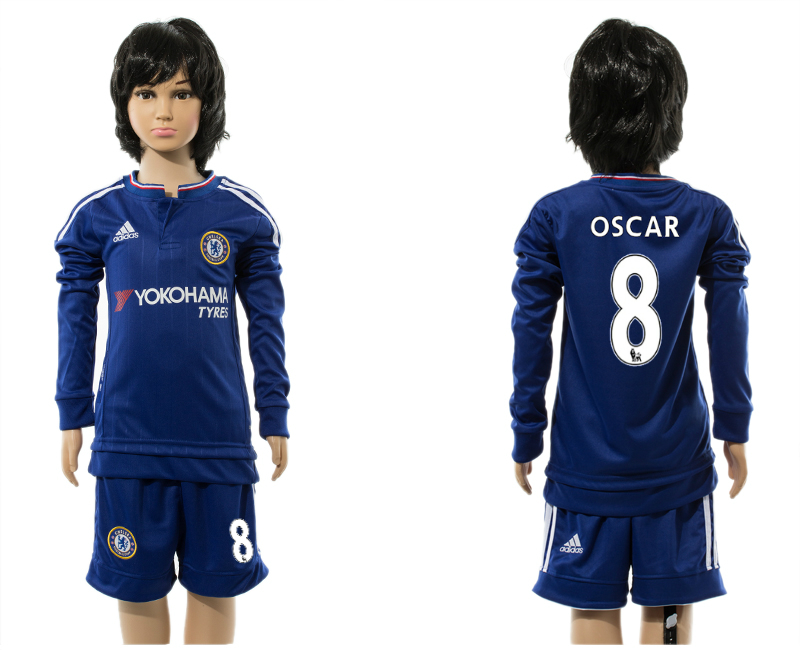 2015-16 Chelsea 8 OSCAR Home Youth Long Sleeve Jersey