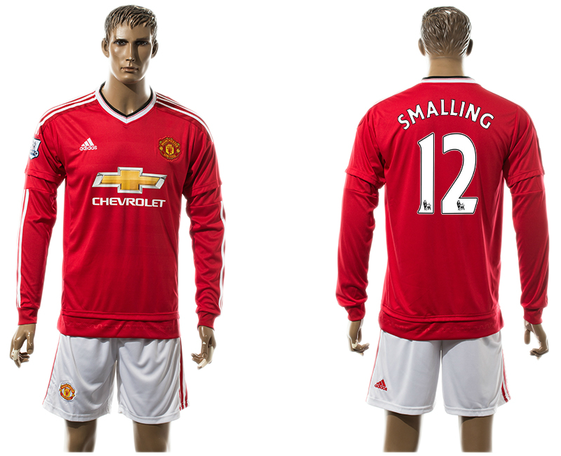 2015-16 Manchester United 12 SMALLING Home Long Sleeve Jersey