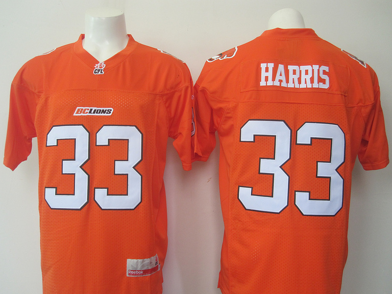 BC Lions 33 Andrew Harris Orange CFL Jersey