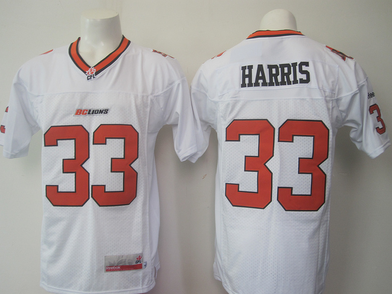 BC Lions 33 Andrew Harris White CFL Jersey