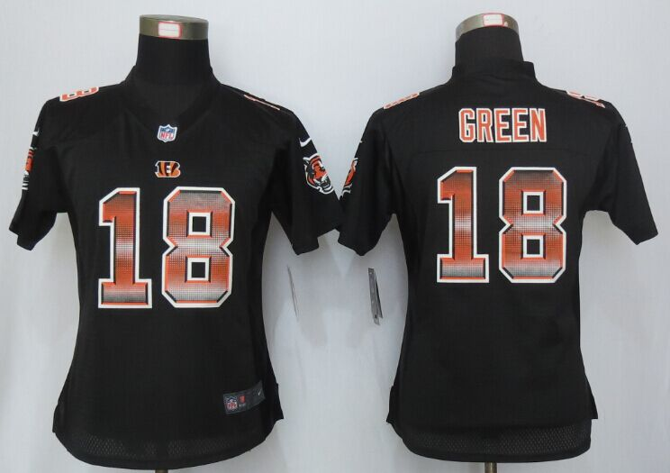 Nike Bengals 18 A.J. Green Black Pro Line Fashion Strobe Women Jersey