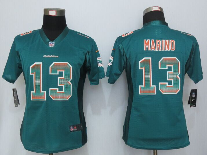 Nike Dolphins 13 Dan Marino Green Pro Line Fashion Strobe Women Jersey