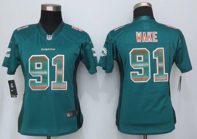 Nike Dolphins 91 Cameron Wake Green Pro Line Fashion Strobe Women Jersey