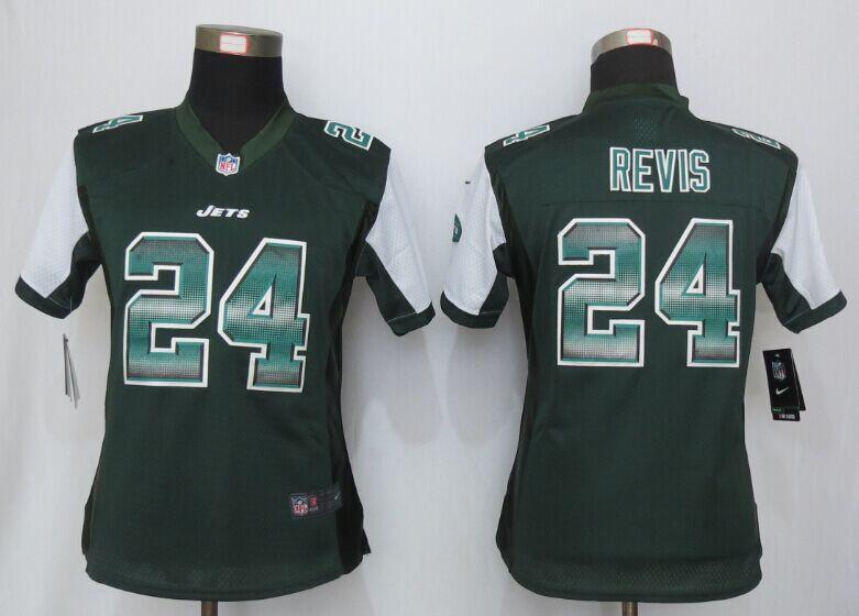 Nike Jets 24 Darrelle Revis Green Pro Line Fashion Strobe Women Jersey