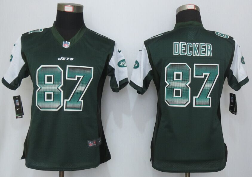Nike Jets 87 Eric Decker Green Pro Line Fashion Strobe Women Jersey