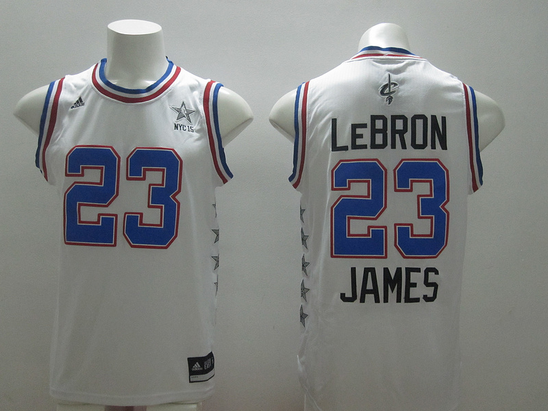 2015 NBA All Star NYC Eastern Conference 23 Lebron James White Jerseys
