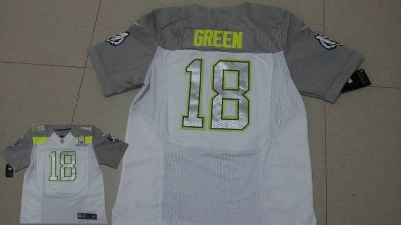 Nike Bengals 18 Green White 2015 Pro Bowl Jerseys
