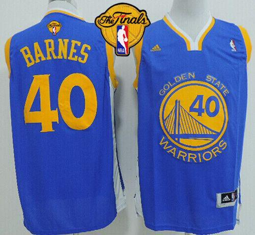 Warriors 40 Barnes Blue 2015 NBA Finals New Rev 30 Jersey