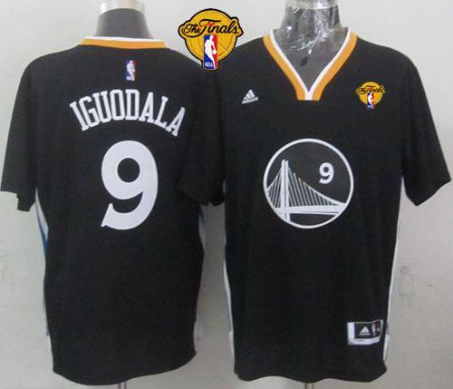 Warriors 9 Iguodala Black 2015 NBA Finals Jersey