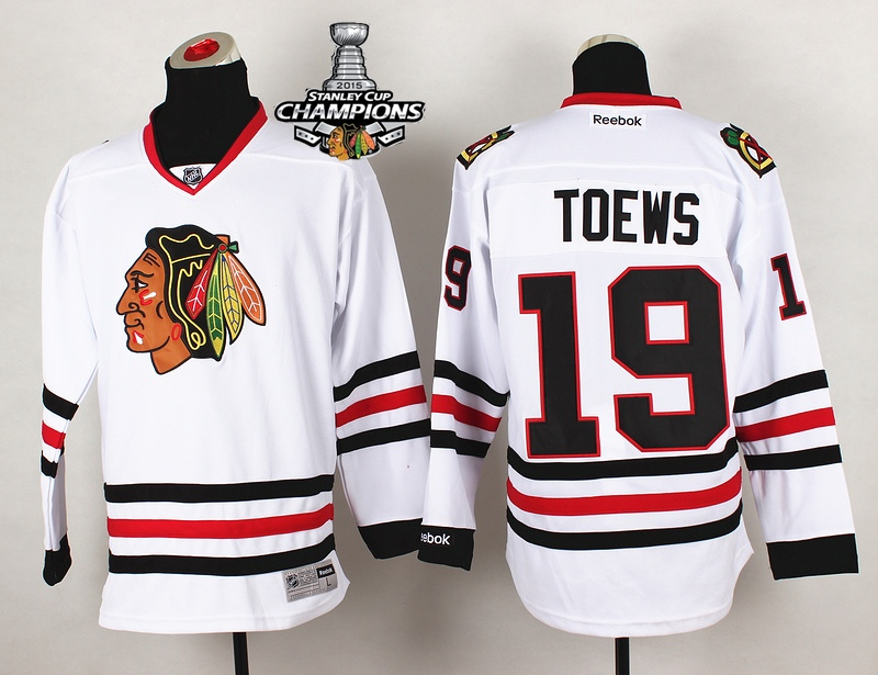 Blackhawks 19 Toews White 2015 Stanley Cup Champions Jersey