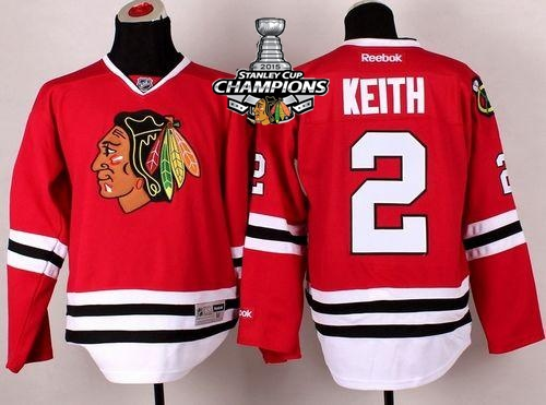 Blackhawks 2 Keith Red 2015 Stanley Cup Champions Jersey