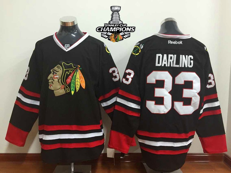 Blackhawks 33 Darling Black 2015 Stanley Cup Champions Jersey