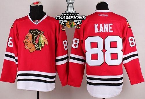 Blackhawks 88 Kane Red 2015 Stanley Cup Champions Jersey