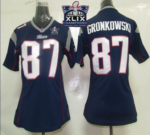 Nike Patriots 87 Gronkowski Blue 2015 Super Bowl XLIX Champions Women Game Jerseys