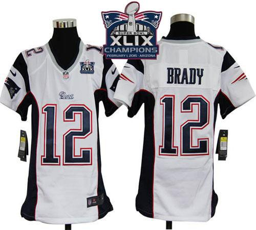 Nike Patriots 12 Brady White 2015 Super Bowl XLIX Champions Youth Game Jerseys