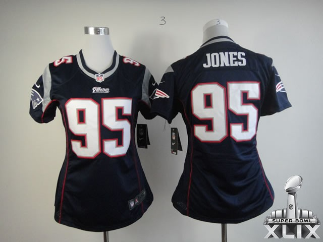 Nike Patriots 95 Jones Blue Women Game 2015 Super Bowl XLIX Jerseys