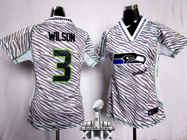 Nike Seahawks 3 Wilson Women Zebra 2015 Super Bowl XLIX Jerseys