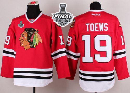 Blackhawks 19 Jonathan Toews Red 2015 Stanley Cup Jersey
