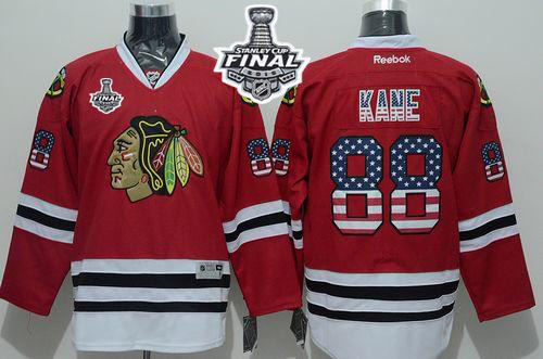 Blackhawks 88 Patrick Kane Red USA Flag 2015 Stanley Cup Jersey