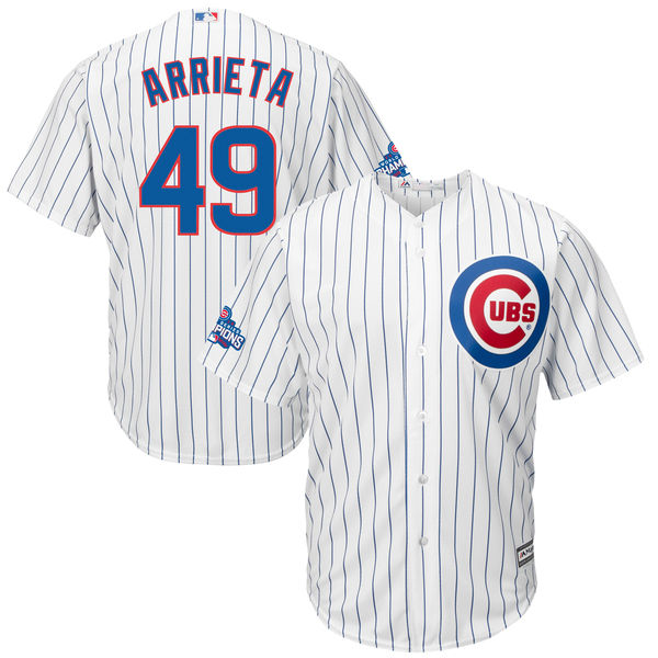 Cubs 49 Jake Arrieta White 2016 World Series Champions Cool Base Jersey