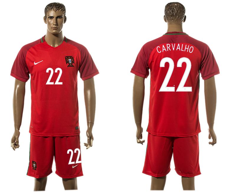 Portugal 22 CARVALHO Home UEFA Euro 2016 Soccer Jersey