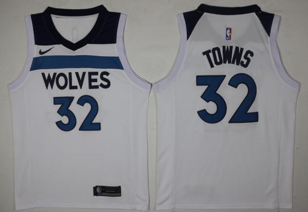Timberwolves 32 Karl-Anthony Towns White Nike Swingman Jersey