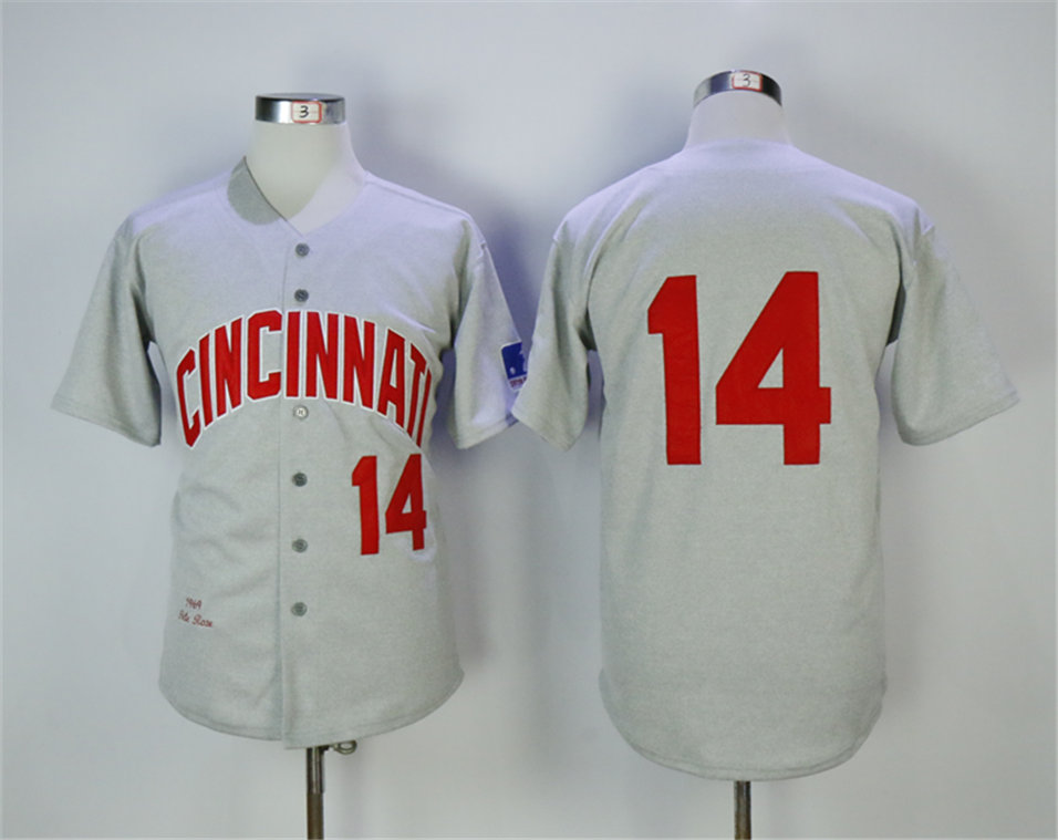Reds 14 Pete Rose Gray Throwback Jersey