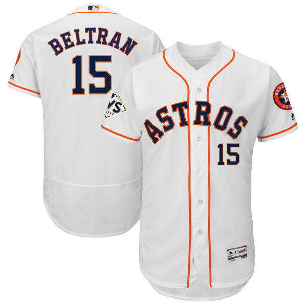 Astros 15 Carlos Beltran White 2017 World Series Bound Flexbase Player Jersey
