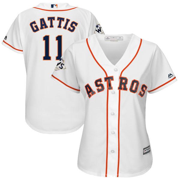 Astros 11 Evan Gattis White Women 2017 World Series Bound Cool Base Player Jersey