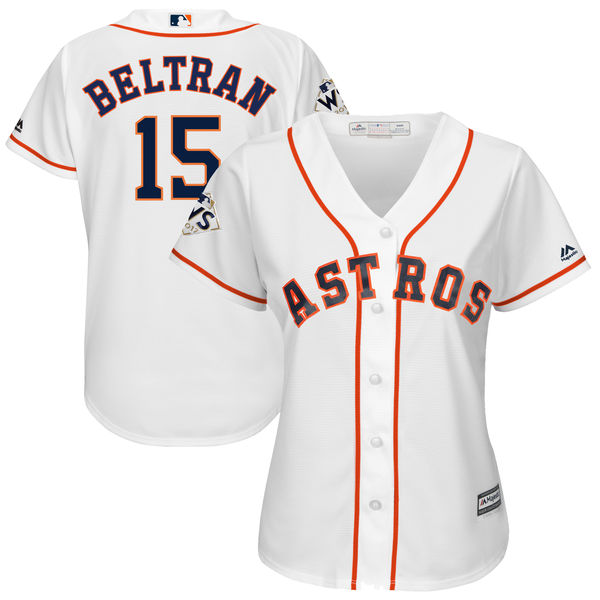 Astros 15 Carlos Beltran White Women 2017 World Series Bound Cool Base Player Jersey