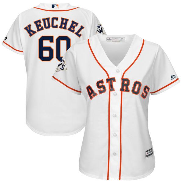 Astros 60 Dallas Keuchel White Women 2017 World Series Bound Cool Base Player Jersey
