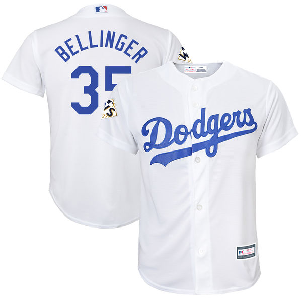 Dodgers 35 Cody Bellinger White Youth 2017 World Series Bound Cool Base Player Jersey